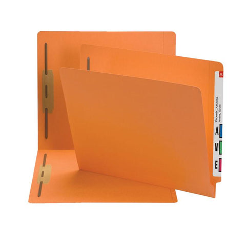 Smead End Tab Fastener File Folder, Shelf-Master® Reinforced Straight-Cut Tab, 2 Fasteners, Letter Size, Orange, 50 per Box (25640)