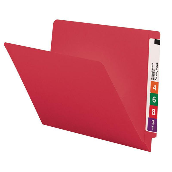 Smead Colored End Tab File Folder, Shelf-Master® Reinforced Straight-Cut Tab, Letter Size, Red, 100 per Box (25710)