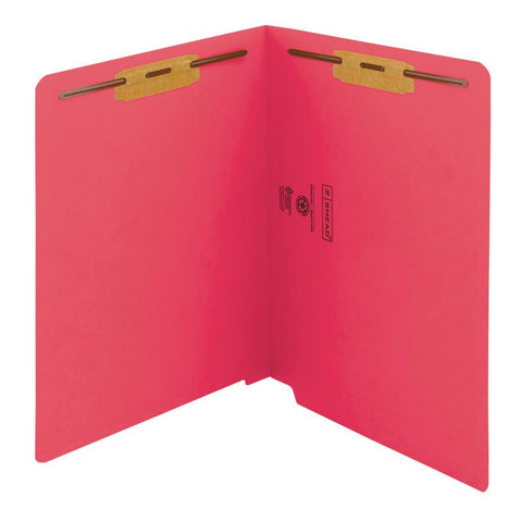 Smead End Tab Fastener File Folder, Shelf-Master® Reinforced Straight-Cut Tab, 2 Fasteners, Letter Size, Red, 50 per Box (25740)