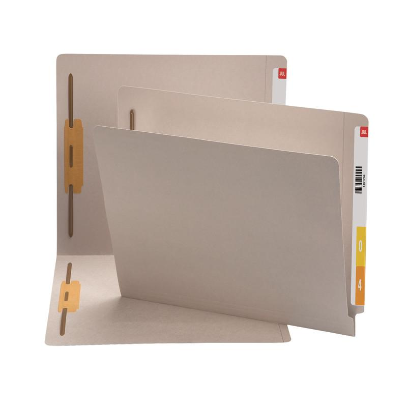 Smead End Tab Fastener File Folder, Shelf-Master® Reinforced Straight-Cut Tab, 2 Fasteners, Letter Size, Gray, 50 per Box (25849)