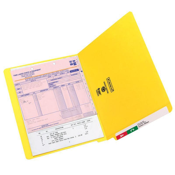 Smead Colored End Tab File Folder, Shelf-Master® Reinforced Straight-Cut Tab, Letter Size, Yellow, 100 per Box (25910)