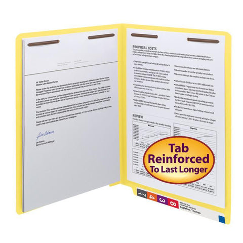Smead WaterShed®/CutLess® End Tab Fastener Folder, Reinforced Straight-Cut Tab, Two Fasteners, Letter Size, Yellow, 50 per Box (25950)