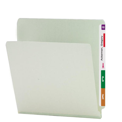 "Smead End Tab Pressboard File Folder, Straight-Cut Tab, 1"" Expansion, Letter Size, Gray/Green, 25 per Box (26200)"
