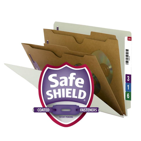 Smead End Tab Classification File Folder with SafeSHIELD® Fasteners, 2 Pocket-Style Divider, Letter Size, Gray/Green, 10 per Box (26710)