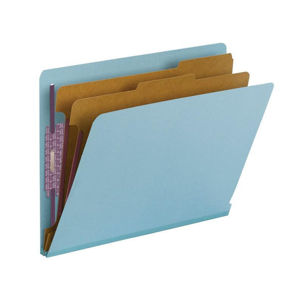 Smead End Tab Pressboard Classification Folder with SafeSHIELD® Fasteners, 2 Dividers, Letter Size, Blue (26781)
