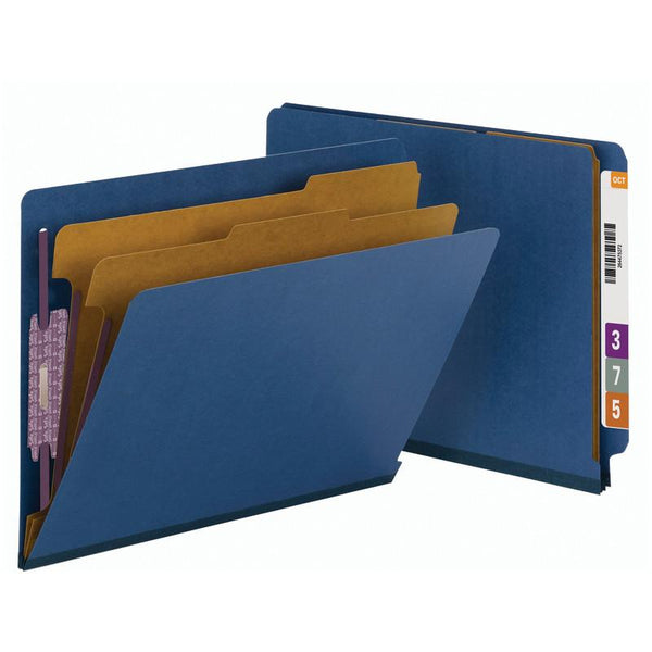Smead End Tab Pressboard Classification Folder with SafeSHIELD® Fasteners, 2 Dividers, Letter, Dark Blue, 10 per Box  (26784)