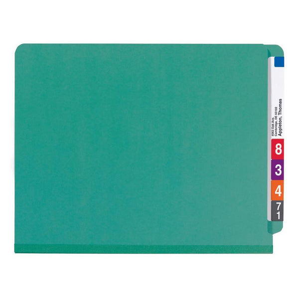 Smead End Tab Pressboard Classification Folder with SafeSHIELD® Fasteners, 2 Dividers, Letter, Green, 10 per Box  (26785)