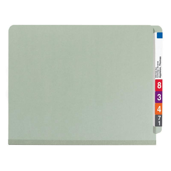 Smead End Tab Pressboard Classification Folder with SafeSHIELD® Fasteners, 1 Divider, Letter , Gray/Green, 10 per box  (26800)