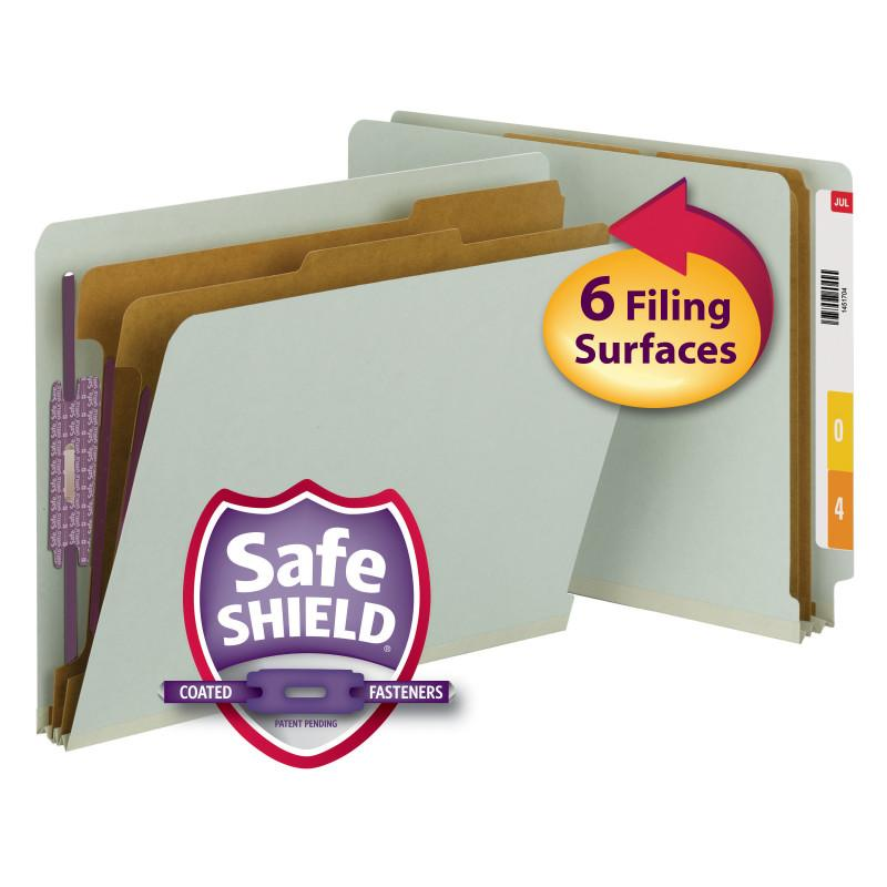 Smead End Tab Pressboard Classification Folder with SafeSHIELD® Fasteners, 2 Dividers, Letter, Gray/Green (26810)