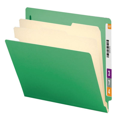 "Smead End Tab Classification File Folder, 2 Divider, 2"" Expansion, Letter Size, Green, 10 per Box (26837)"