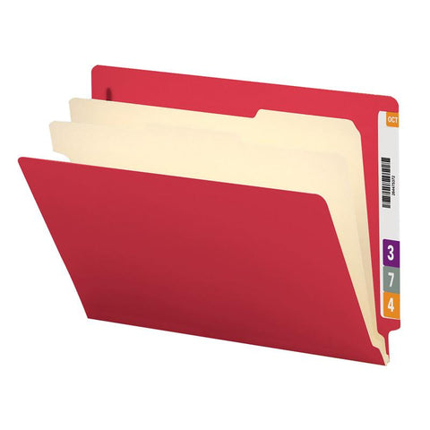 "Smead End Tab Classification File Folder, 2 Divider, 2"" Expansion, Letter Size, Red, 10 per Box (26838)"