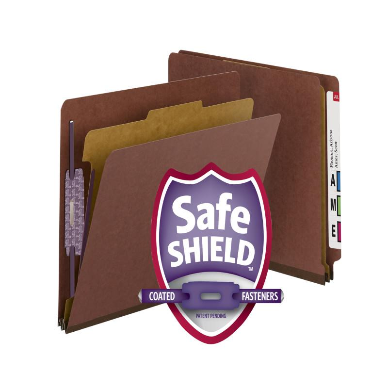 Smead End Tab Pressboard Classification Folder with SafeSHIELD® Fasteners, 1 Divider, Letter, Red Box of 10 (26855)