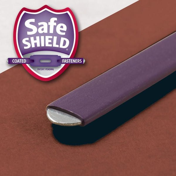 "Smead End Tab Pressboard Classification Folder with SafeSHIELD® Fasteners, 2 Dividers, 2"" Expansion, Letter Size, Red, 10 per Box (26860)"