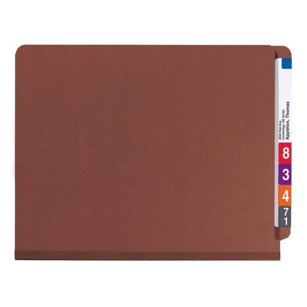 Smead End Tab Pressboard Classification Folder with SafeSHIELD® Fasteners, 3 Dividers, Letter, Red (26865)