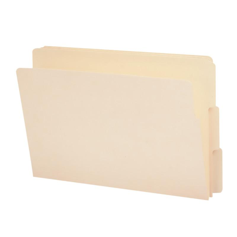 "Smead End Tab File Folder, Shelf-Master® Reinforced 4"" High Tab 1-1/8"" Up from Bottom, Legal Size, Manila, 100 per Box (27134)"