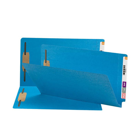 Smead End Tab Fastener File Folder, Shelf-Master® Reinforced Straight-Cut Tab, 2 Fasteners, Legal Size, Blue, 50 per Box (28040)