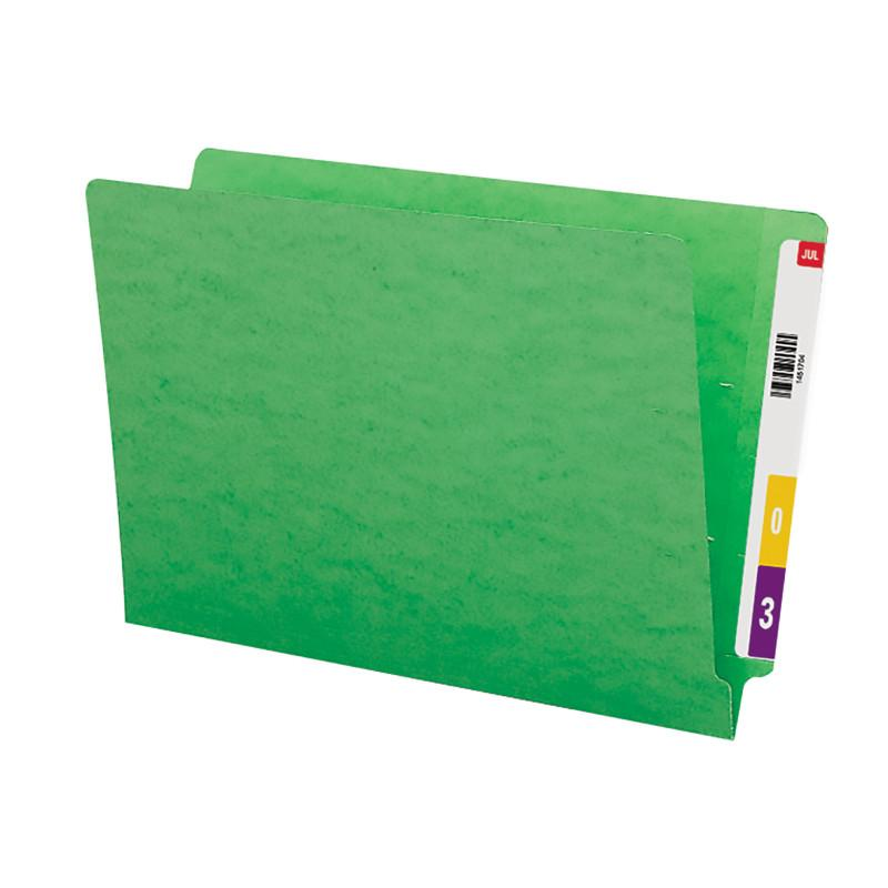 Smead Colored End Tab File Folder, Shelf-Master® Reinforced Straight-Cut Tab, Legal Size, Green, 100 per Box (28110)