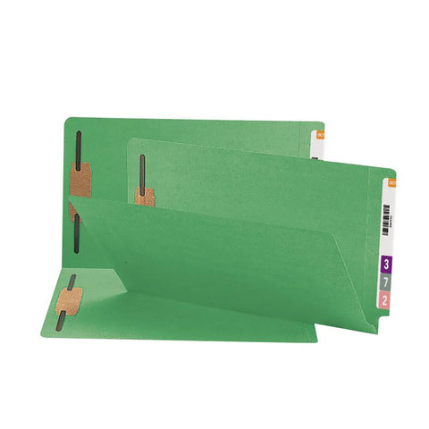 Smead End Tab Fastener File Folder, Shelf-Master® Reinforced Straight-Cut Tab, 2 Fasteners, Legal Size, Green, 50 per Box (28140)