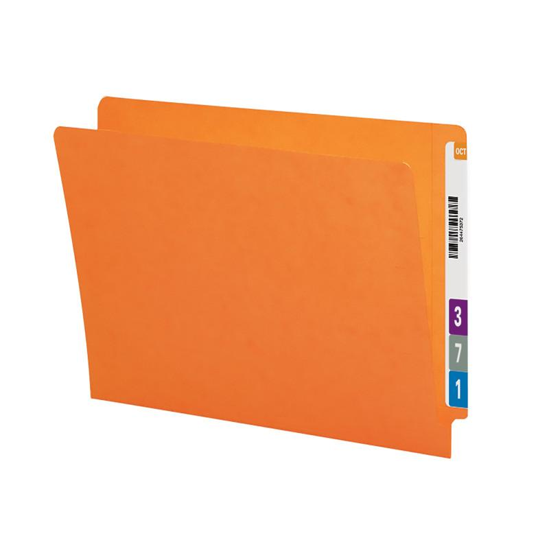 Smead Colored End Tab File Folder, Shelf-Master® Reinforced Straight-Cut Tab, Legal Size, Orange, 100 per Box (28510)