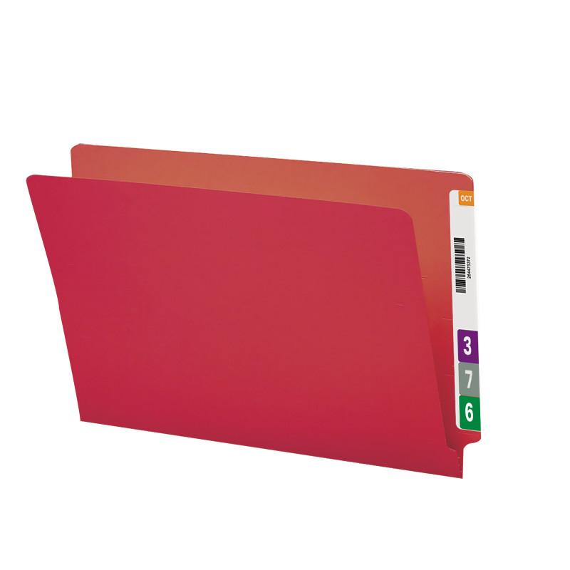 Smead Colored End Tab File Folder, Shelf-Master® Reinforced Straight-Cut Tab, Legal Size, Red, 100 per Box (28710)