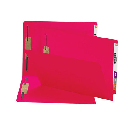 Smead End Tab Fastener File Folder, Shelf-Master® Reinforced Straight-Cut Tab, 2 Fasteners, Legal Size, Red, 50 per Box (28740)