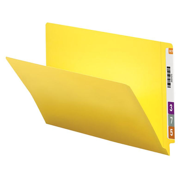 Smead Colored End Tab File Folder, Shelf-Master® Reinforced Straight-Cut Tab, Legal Size, Yellow, 100 per Box (28910)