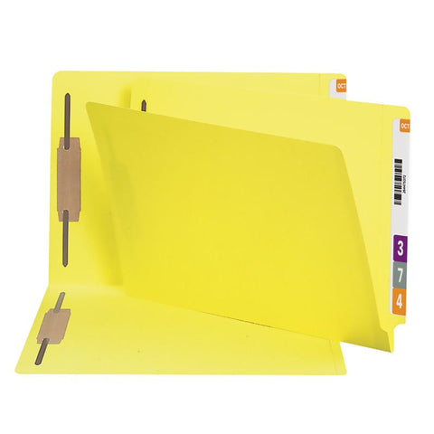 Smead End Tab Fastener File Folder, Shelf-Master® Reinforced Straight-Cut Tab, 2 Fasteners, Legal Size, Yellow, 50 per Box (28940)