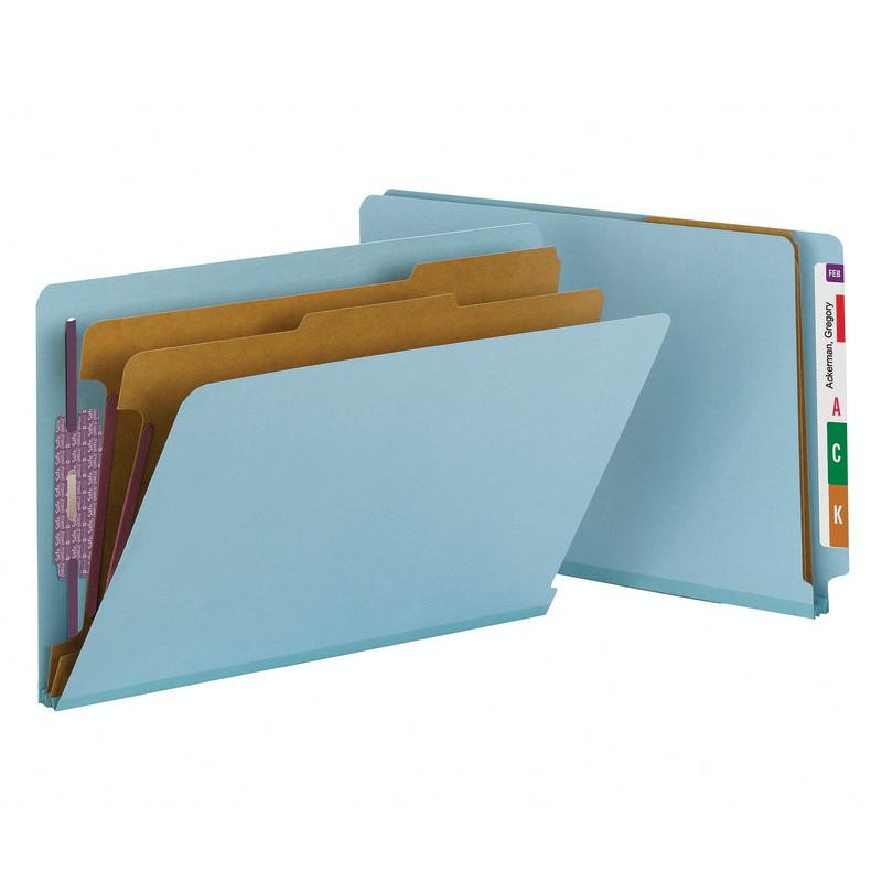Smead End Tab Pressboard Classification Folder with SafeSHIELD® Fasteners, 2 Dividers, Legal, Blue (29781)