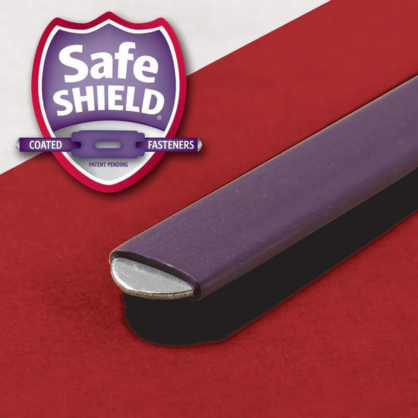 Smead End Tab Pressboard Classification Folder with SafeSHIELD® Fasteners, 2 Dividers, Legal, Bright Red (29783)