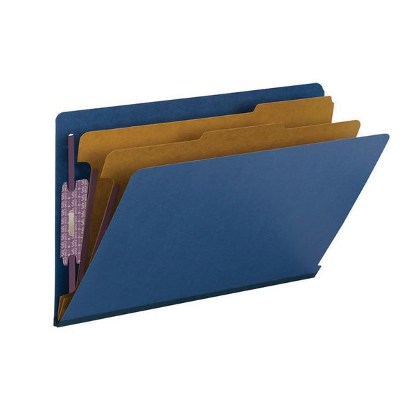 Smead End Tab Pressboard Classification Folder with SafeSHIELD® Fasteners, 2 Dividers, Legal, Dark Blue (29784)
