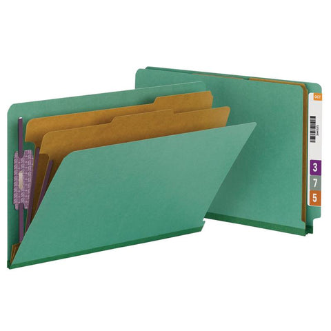 Smead End Tab Pressboard Classification Folder with SafeSHIELD® Fasteners, 2 Dividers, Legal, Green (29785)