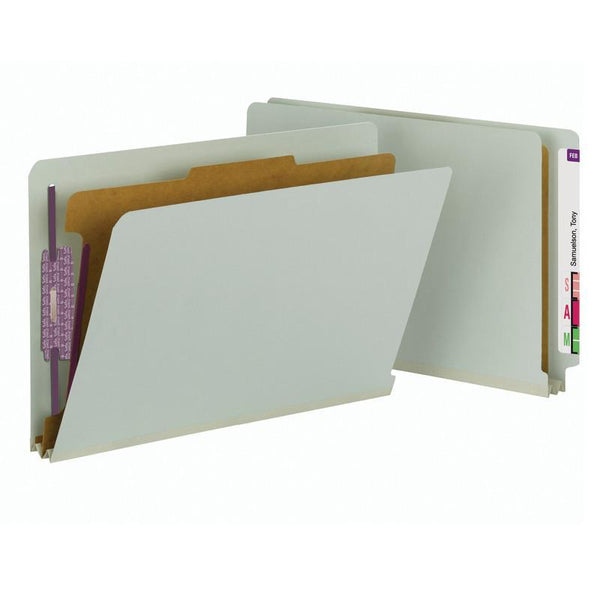 Smead End Tab Pressboard Classification Folder with SafeSHIELD® Fasteners, 1 Divider, Legal, Gray/Green (29800)