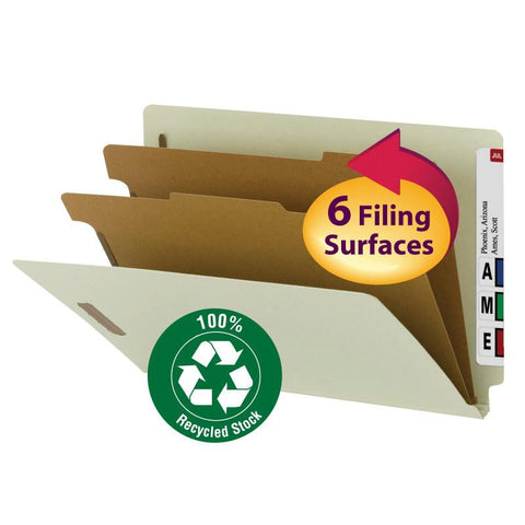 "Smead 100% Recycled End Tab Classification Folder, 2 Dividers, 2"" Expansion, Legal Size, Gray/Green, 10 per Box (29802)"