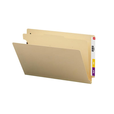 "Smead End Tab Classification File Folder, 1 Divider, 2"" Expansion, Legal Size, Manila, 10 per Box (29825)"