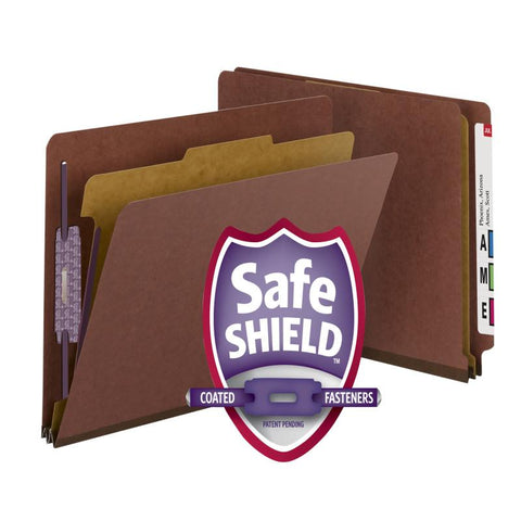 "Smead End Tab Pressboard Classification File Folder with SafeSHIELD® Fasteners, 1 Divider, 2"" Expansion, Legal Size, Red, 10 per Box (29855)"