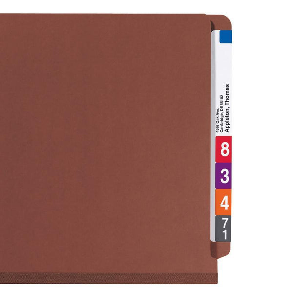 Smead End Tab Pressboard Classification Folder with SafeSHIELD® Fasteners, 2 Dividers, Legal, Red (29860)