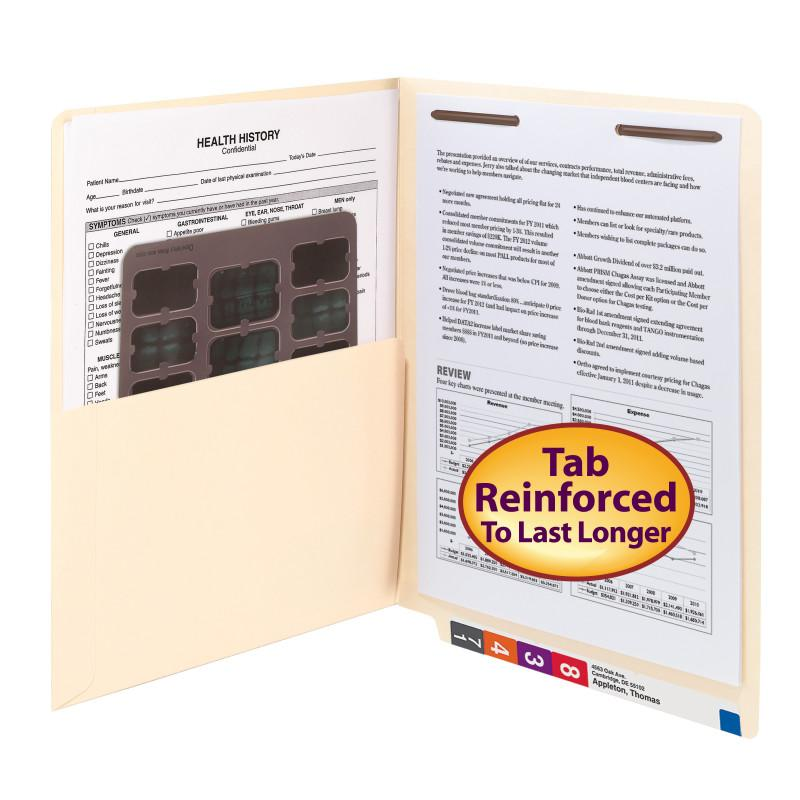 Smead End Tab Pocket Folder with Full Pocket, Reinforced Straight-Cut Extended Tab, 1 Fastener, Letter Size, Manila, 50 per Box (34100)