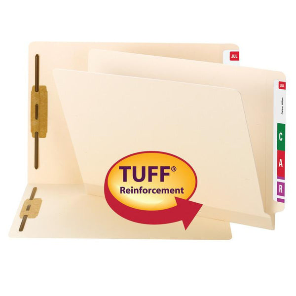 Smead TUFF® Laminated End Tab Fastener Folder, Shelf-Master® Reinforced Straight-Cut Tab, Letter Size, Manila, 50 per Box (34105)