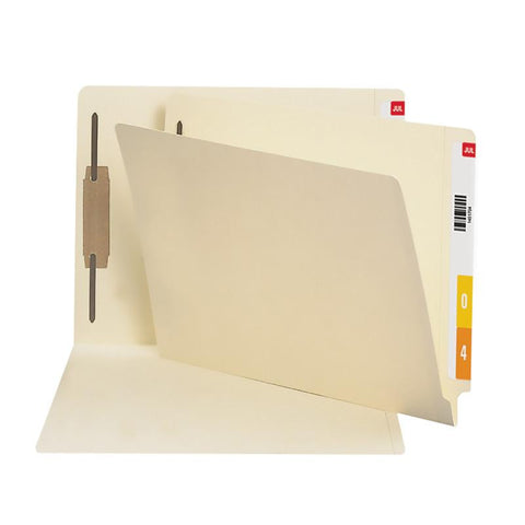Smead End Tab Fastener Folder with Antimicrobial Product Protection, Reinforced Straight-Cut Tab, 1 Fastener, Letter Size, Manila, 50 per Box (34113)