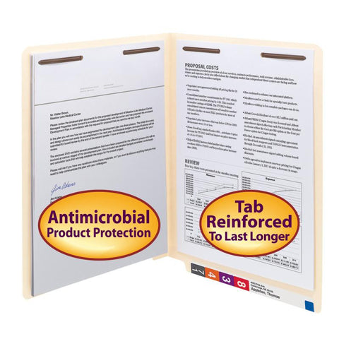 Smead End Tab Fastener File Folder with Antimicrobial Product Protection, Reinforced Straight-Cut Tab, 2 Fastener, Letter, Manila, 50 per Box (34116)