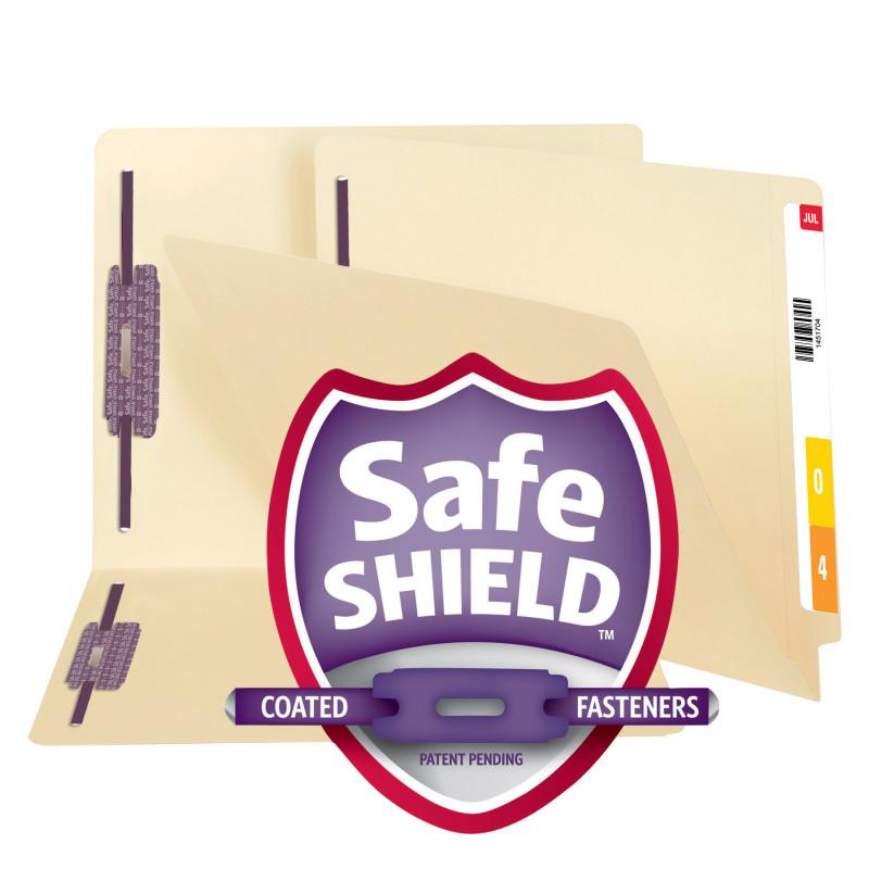 Smead End Tab File Folder with SafeSHIELD® Fasteners, Reinforced Straight-Cut Tab, 2 Fasteners, Letter Size, Manila, 50 per box (34117)
