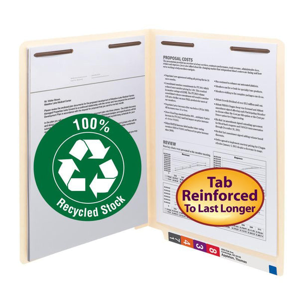 Smead End Tab 100% Recycled Fastener File Folder, Reinforced Straight-Cut Tab, 2 Fasteners, Letter, Manila, 50 per Box (34160)