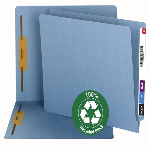 Smead 100% Recycled End Tab Fastener File Folder, Reinforced Straight-Cut Tab, 2 Fasteners, Blue, 50 per Box (34170)