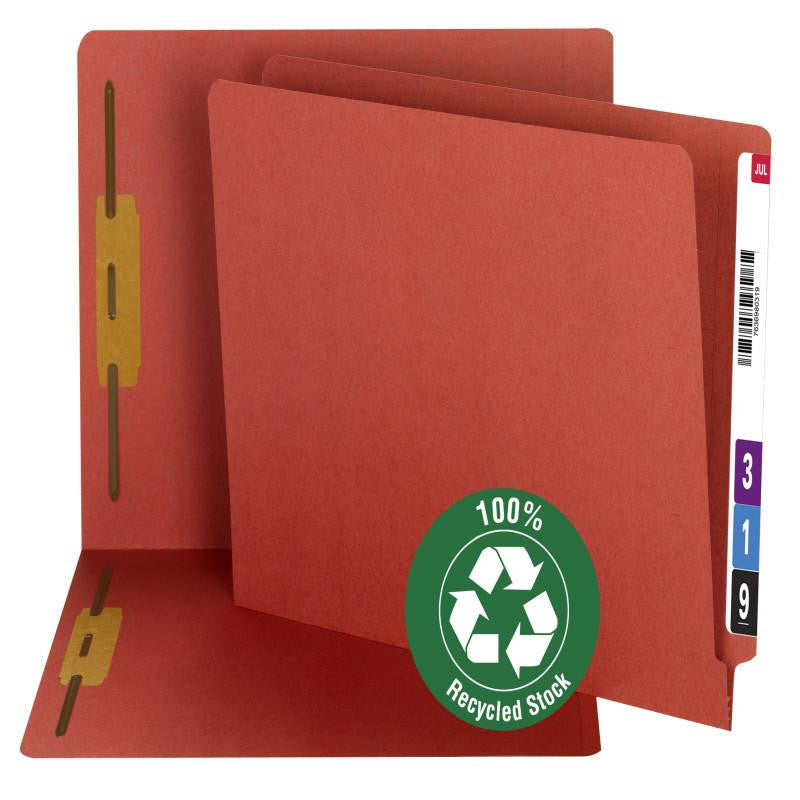 Smead 100% Recycled End Tab Fastener File Folder, Shelf-Master® Reinforced Straight-Cut Tab, 2 Fasteners, Red, 50 per Box (34171)