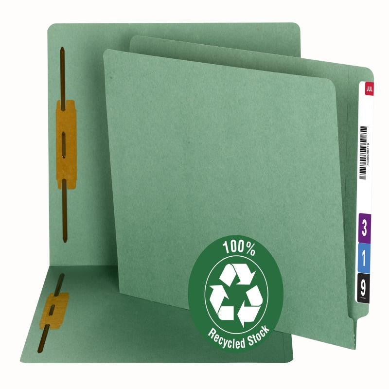 Smead 100% Recycled End Tab Fastener File Folder, Reinforced Straight-Cut Tab, 2 Fasteners, Green, 50 per Box (34172)