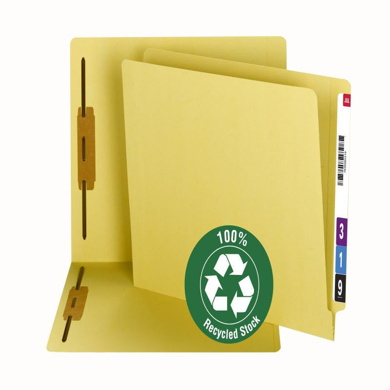 Smead 100% Recycled End Tab Fastener File Folder, Reinforced Straight-Cut Tab, 2 Fasteners, Yellow, 50 per Box (34173)