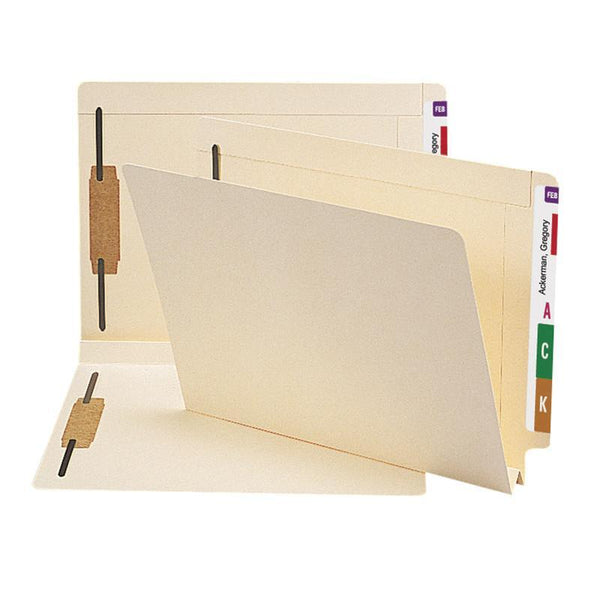 Smead End Tab Fastener File Folder, Shelf-Master® Reinforced Straight-Cut Tab, 2 Fasteners, Letter Size, Manila, 50 per Box (34276)