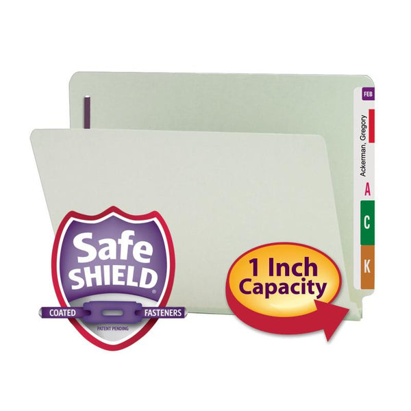 Smead End Tab Pressboard Fastener Folder with SafeSHIELD® Fastener, 2 Fasteners, Letter, Gray/Green (34705)