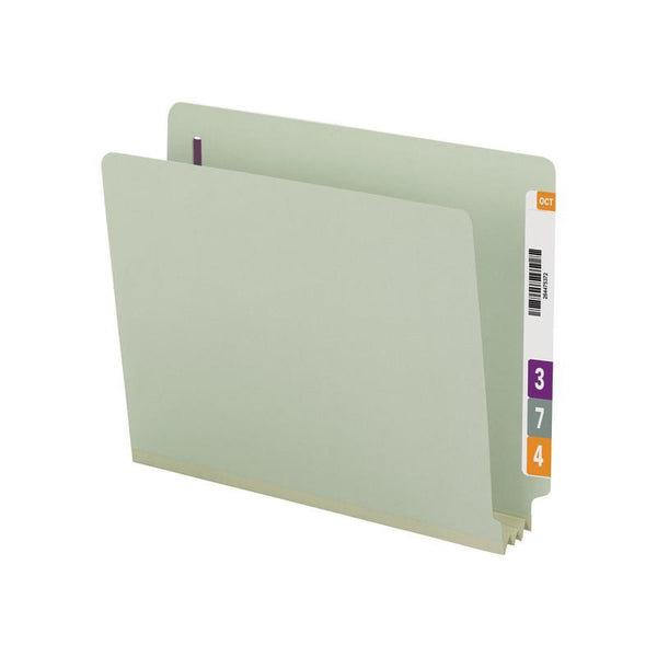 Smead End Tab Pressboard Fastener Folder with SafeSHIELD® Fastener, 2 Fasteners, Letter, Gray/Green (34725)