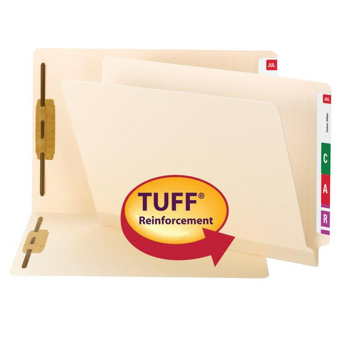 Smead TUFF® Laminated End Tab Fastener Folder, Shelf-Master® Reinforced Straight-Cut Tab, Legal Size, Manila, 50 per Box (37105)
